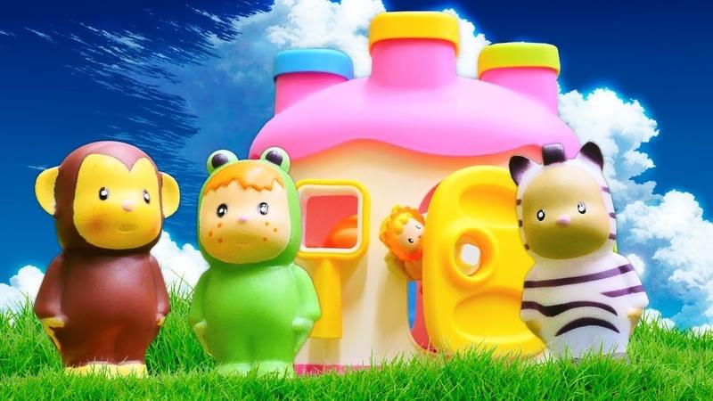 Oyuncak hayvanlar için oyuncak ev. Bebek videosu.