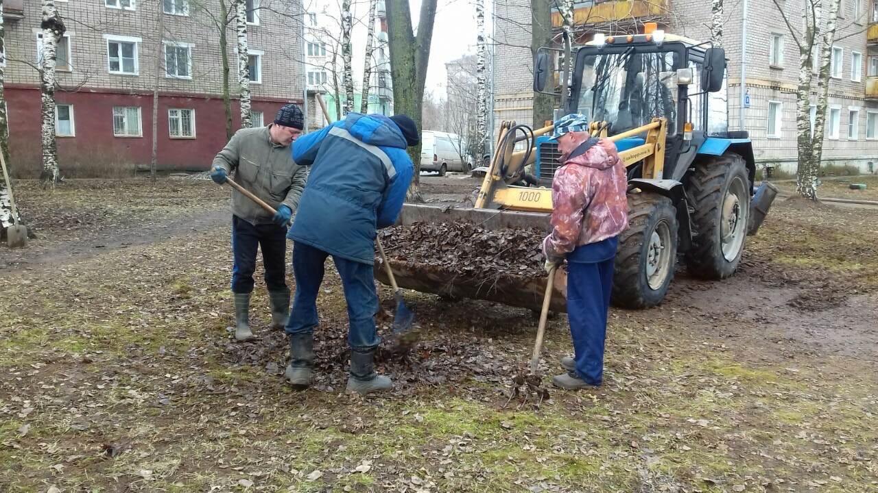 Ул. Добролюбова, 21. Погрузка мусора после проведения