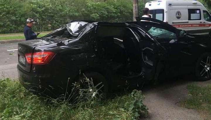 Вести Ru Четыре человека пострадали при падении дерева на машину в Петербурге