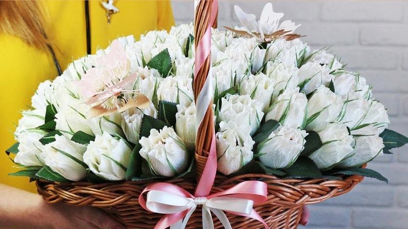 Полураскрытые БУТОНЫ роз из гофрированной бумаги с конфетой внутри