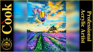 How to Paint Hot Air Balloons and Lavender Field Step-by-Step Lesson with Acrylics with Ginger Cook