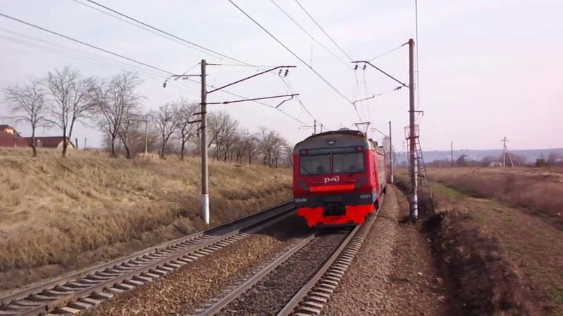 Проследование временных платформ в Акри электропоездом на Узуново