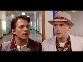 Robert Downey Jr and Tom Holland in Back to the future - This is heavy!  deepfake