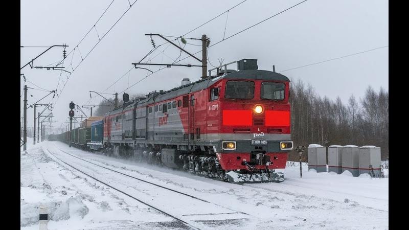 2ТЭ10М 0355 со сборным поездом Перегон Чухломинский Лянгасово