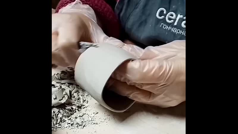 Оправка изделий после гончарного круга Декор по сырой глине