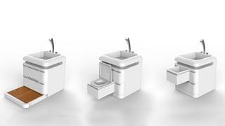 Унитаз раковина душ в одном устройстве. Компактный переносной многофункциональный туалет-санузел.