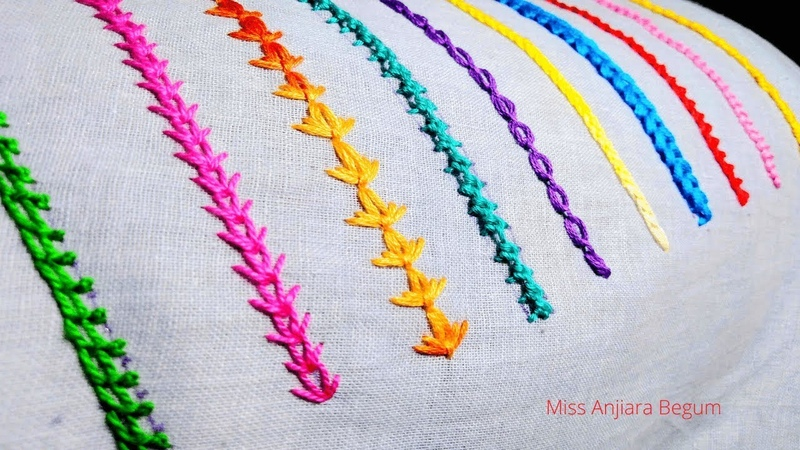 10 Colorful Basic Hand Embroidery Border Stitches for Beginners 79 Hemline Embroidery Miss A
