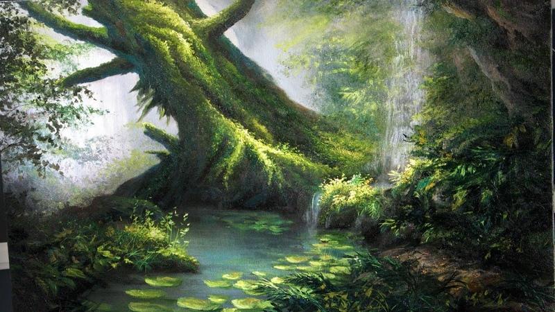Mossy Tree Painting Landscape Art