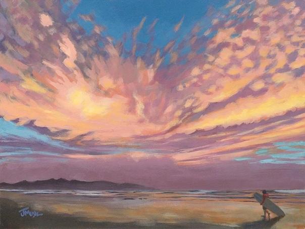 Художник Джим Мюсил использует свою кисть, чтобы запечатлеть изменчивое настроение неба в ярких пейзажных картинах в стиле импрессионизма