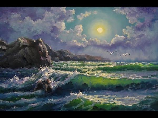 🎨 Aleksandr Grigorev Meer See Strand Mond Kunst Gemälde Öl Malerei Oil Art Painting