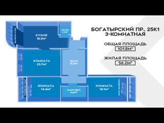 Сколько стоит 3-комнатная на Богатырском 25 к 1!!