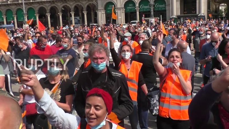 Italy Orange Vests protesters call for government resignation at Milan rally