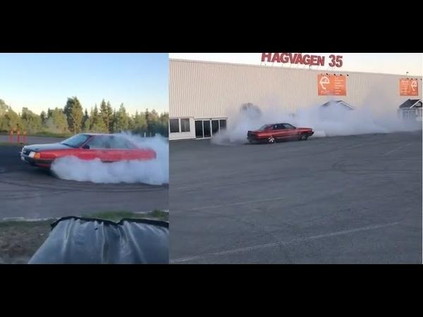 Audi 100 C3 CS Quattro 5zylinder Turbo 700HP-Too hot Donuts.Burnout Drift.360 degree rotation