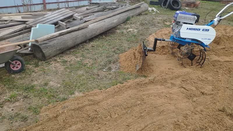 Работа мотоблоком НЕВА МБ МБ23 МультиАГРО YAMAHA MX250 PRO с лопатой отвал