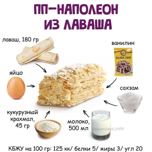 ПП Наполеон из лаваша ⠀ КБЖУ на 100 гр: 125/5/3/20 ⠀ Ингредиенты: ⠀ ♦️лаваш,...