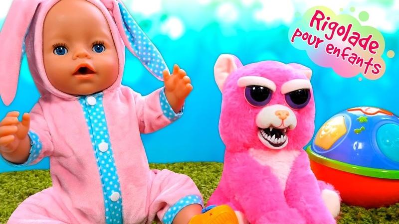 Vidéos drôles pour enfants avec le mime et les jouets Baby Annabell et les peluches