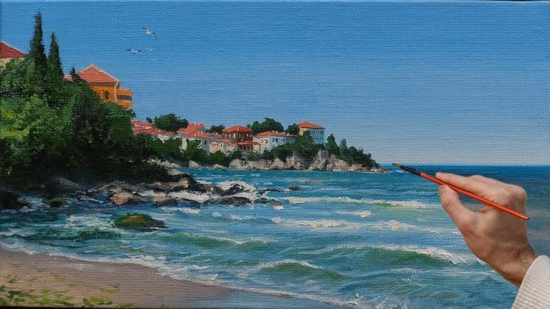 Life by the Sea Oil Painting Art Жизнь у моря Пейзаж маслом Ölgemälde Kunst Pintura al óleo