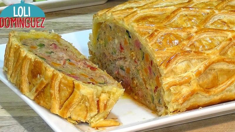 ROLLO DE CARNE PICADA CON VERDURAS EN HOJALDRE Loli Domínguez paso a paso tutorial meat roll