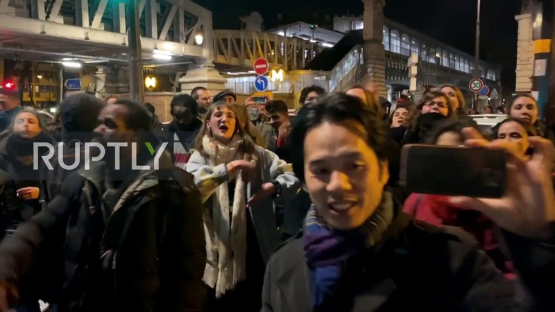 France Demonstrators protest outside Bouffes du Nord as Macron attends play