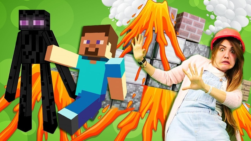 Minecraft oyunları Yanardağ'ı kumla kapatıyoruz Steve Enderman'a karşı