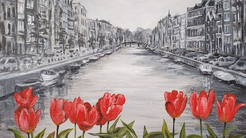 Amsterdam Canal with Tulips Black White Acrylic Painting LIVE Tutorial