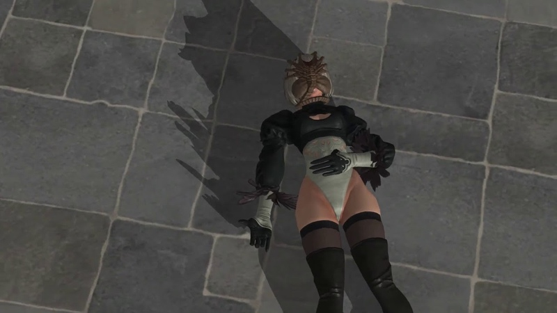 XNALara リョナ 2B Nier Automata Face Hugger KO pose ryona Skirtless
