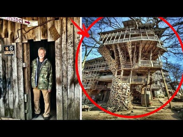 Мужик за 20 лет построил дом на дереве на 80 комнат и 10 этажей Там есть даже спортивная площадка