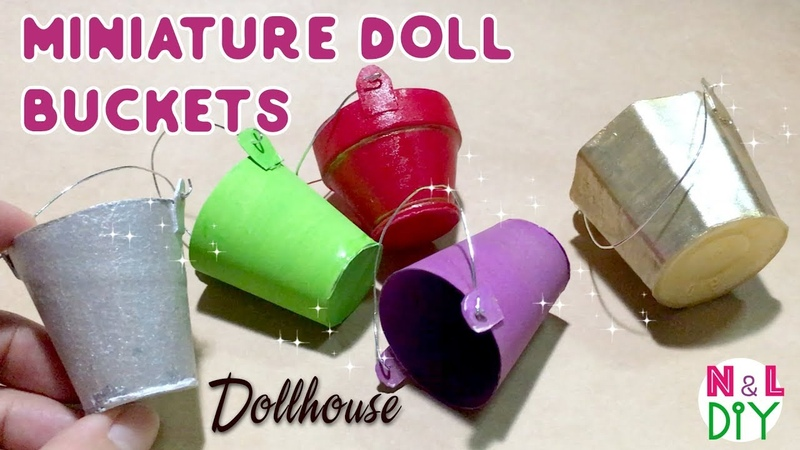 DIY Miniature Buckets for Dollhouse | How to make mini Bucket