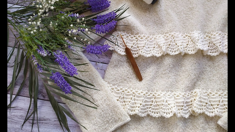 Пуловер из альпаки букле Часть 2 Вяжем волан кайму