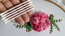 Amazing Hand Embroidery 3d flower design trick With cotton bud Brazilian stitch Rose Flower Design